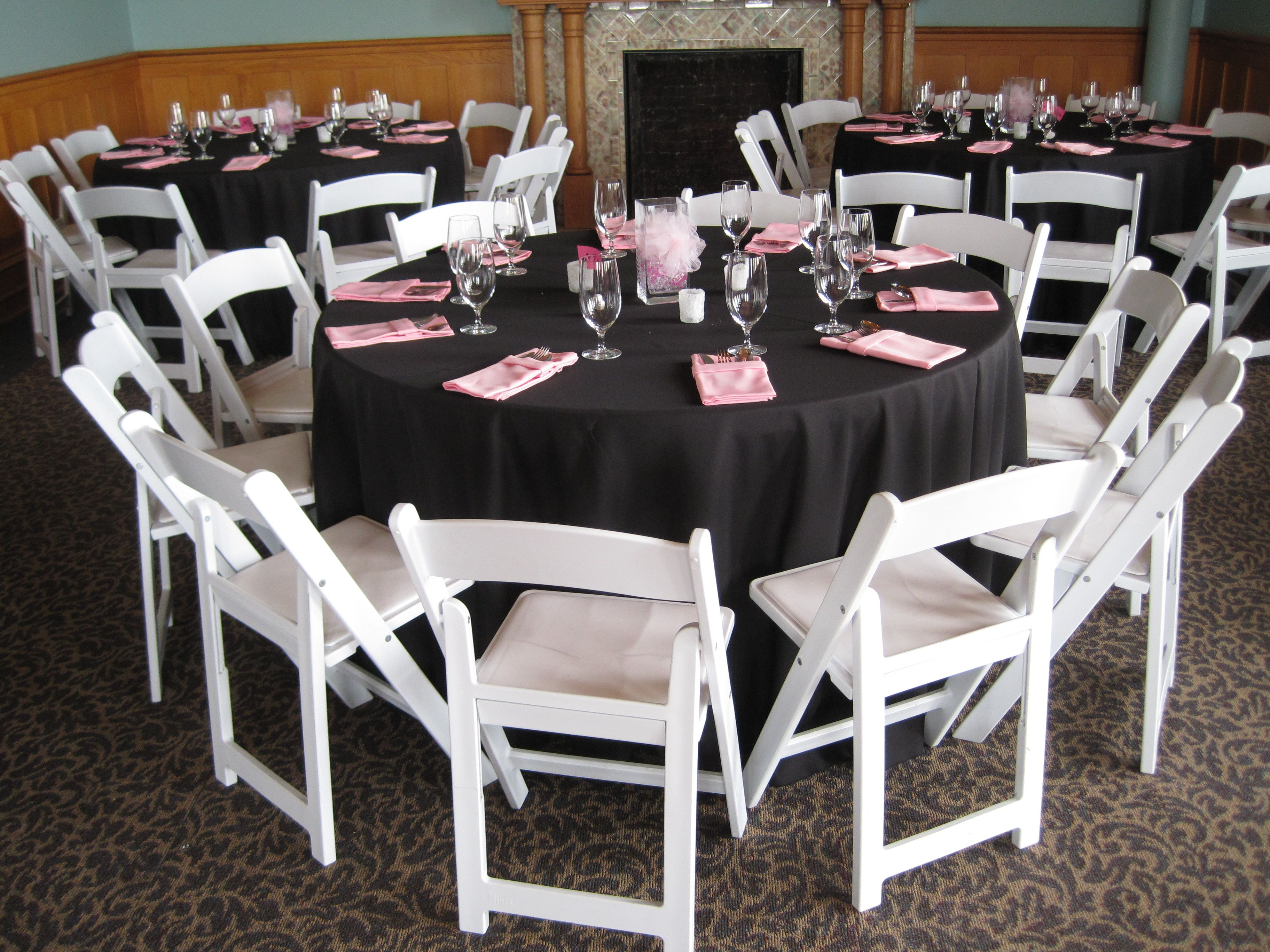 Astonishing Black Tablecloths And Pink Napkins For A Simple Wedding Caraccident5 Cool Chair Designs And Ideas Caraccident5Info
