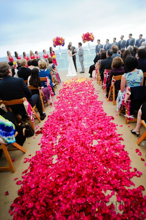 Stunning ombre rose petal ceremony aisle at this Surf and Sand Resort wedding ceremony | LVL Events | Laguna Beach | Jim Kennedy Photographers