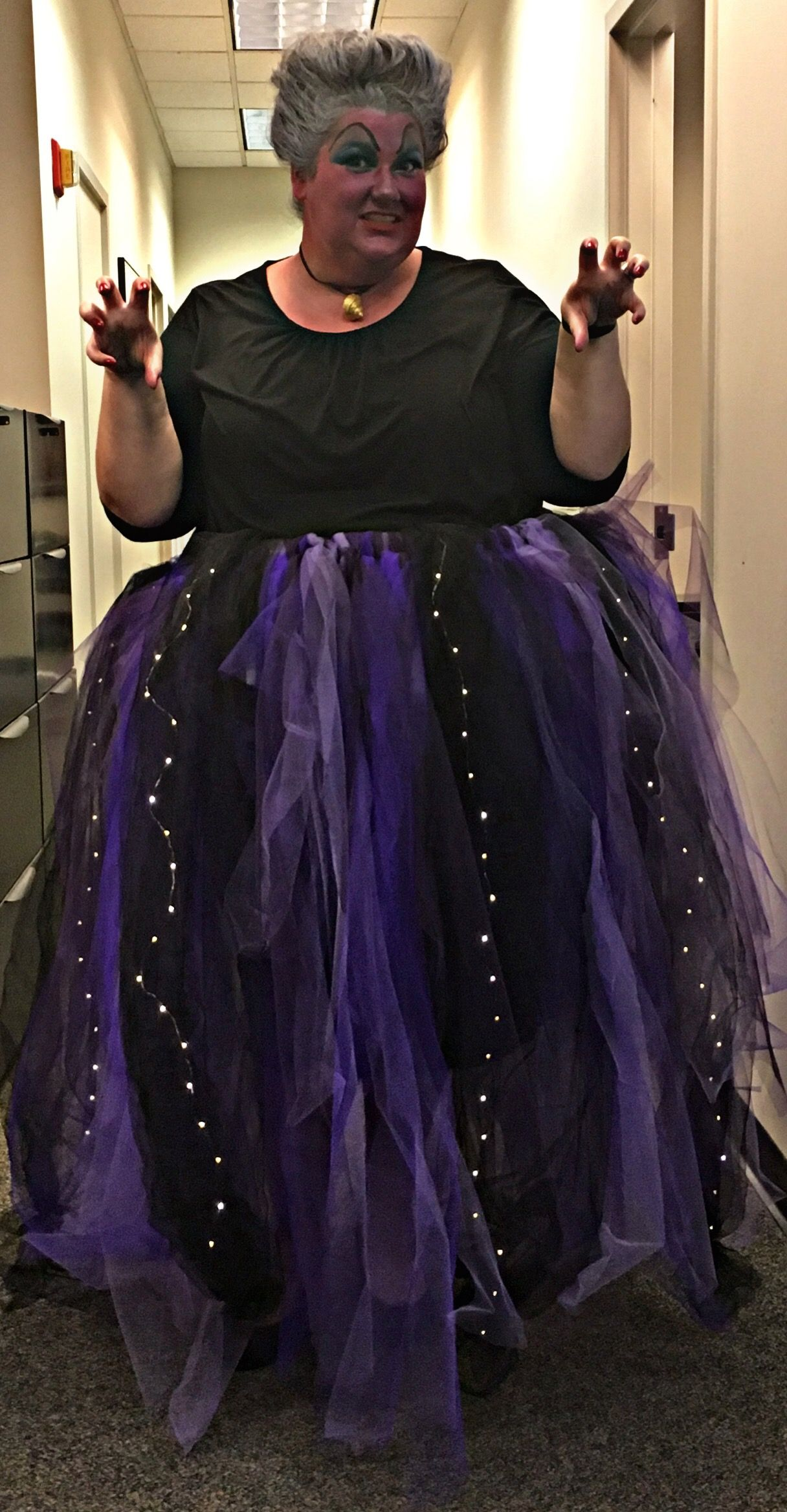 93d163cbdefaef DIY Ursula tulle skirt complete we LED tentacles and wicked makeup ...