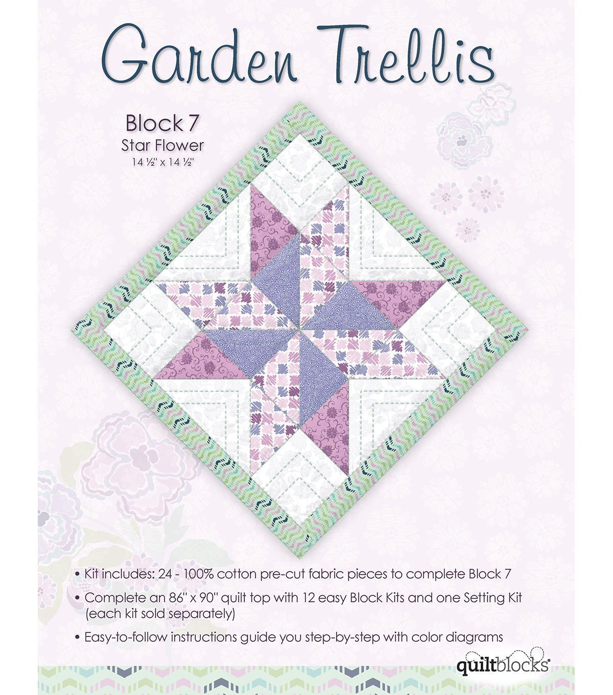 Quilt Block of the Month Cotton Fabric Garden Trellis Block 7