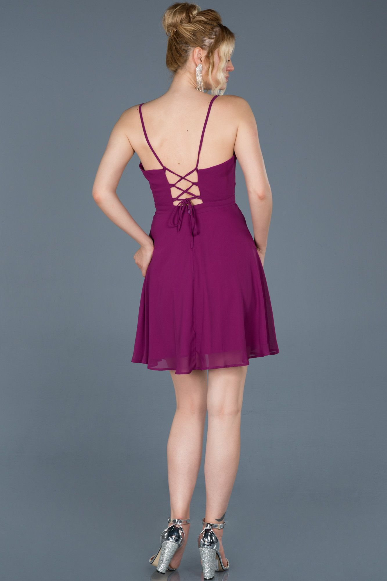 Violet Sirt Dekolteli Sifon Elbise Abk001 2020 Sifon Elbise Moda Stilleri Elbise