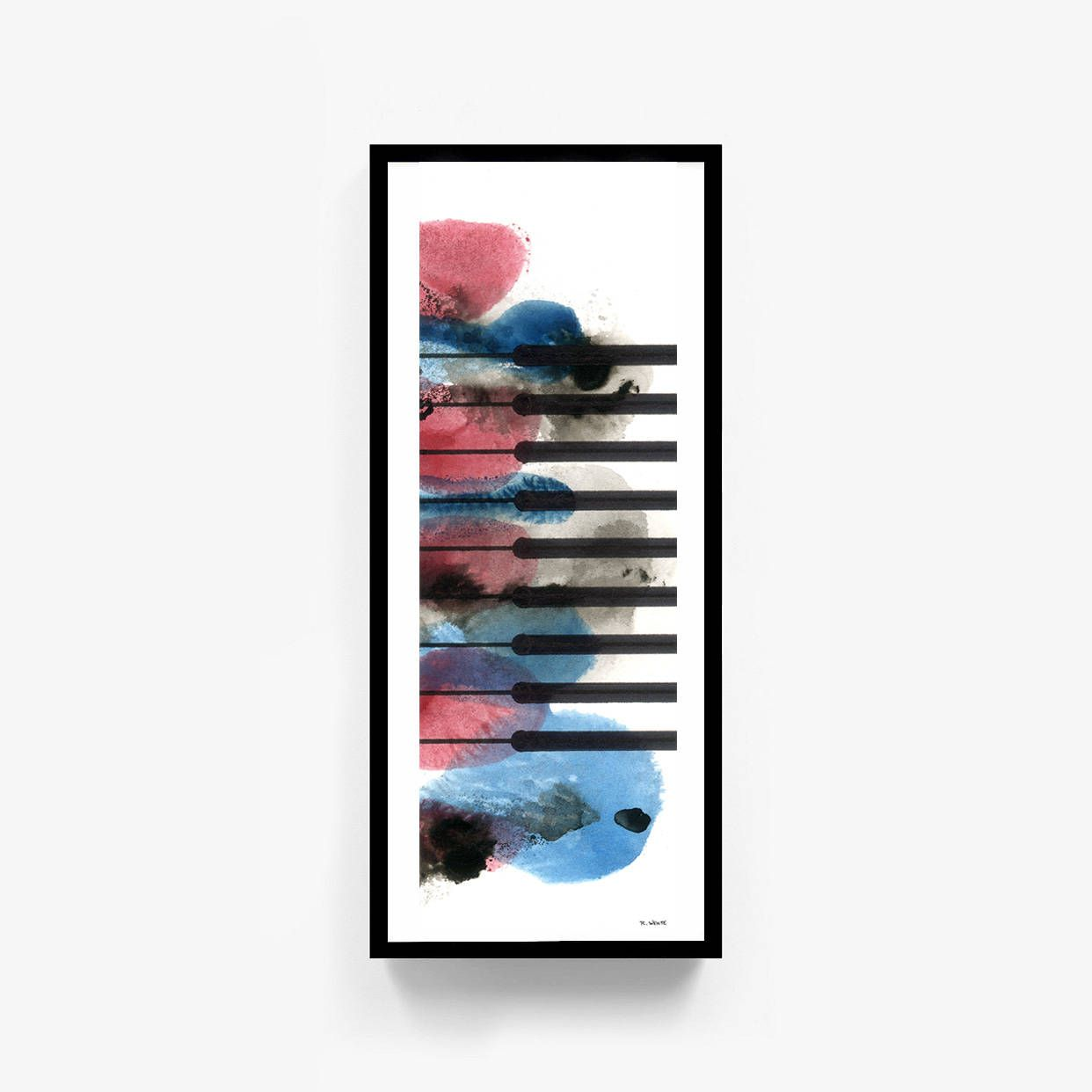 "Printable Original Watercolor Artwork, Digital Print, Abstract Wall Art, ""Blues Piano"", Piano Music Decor, Digital Download by RobertWenteArtworks on Etsy"