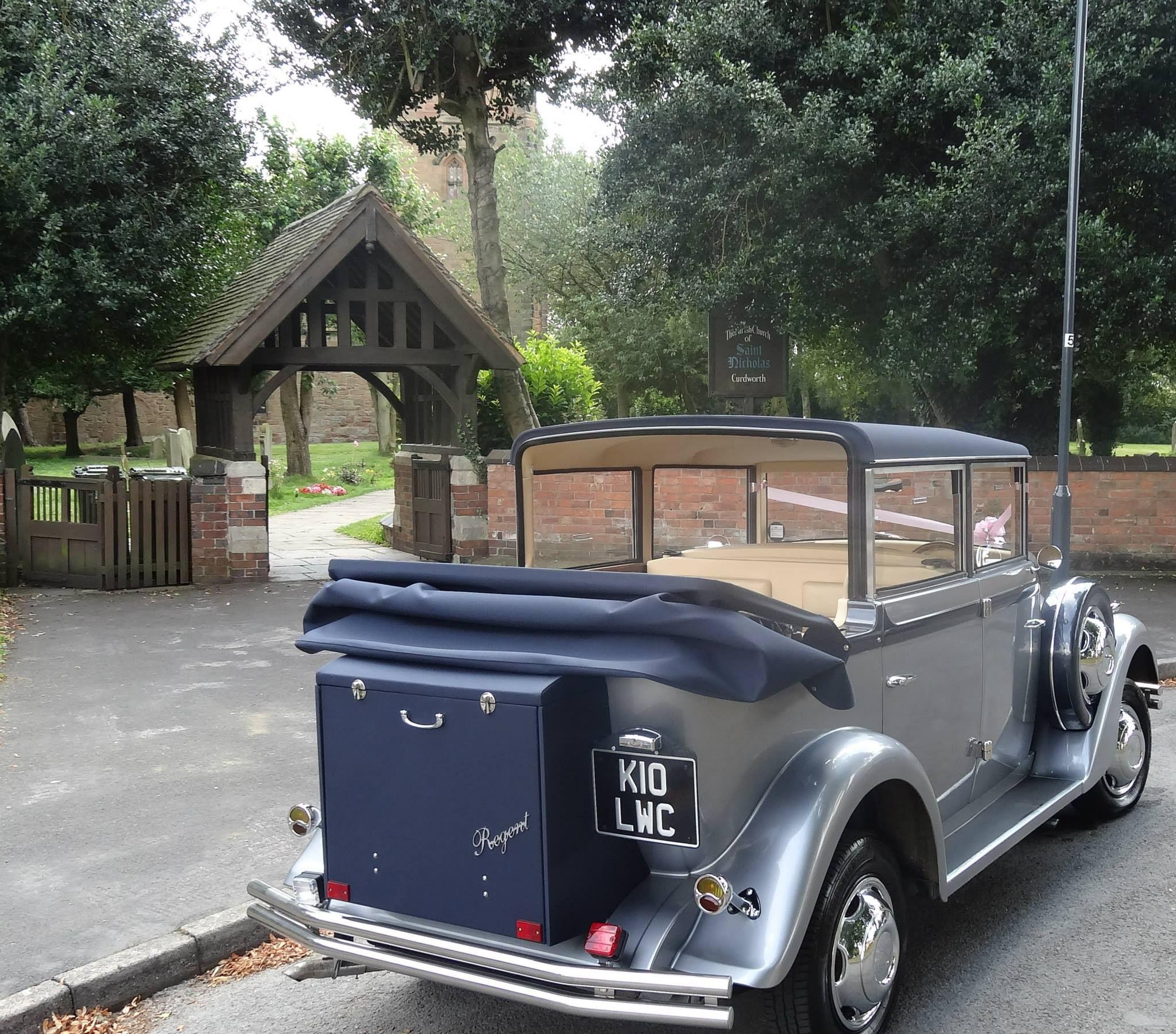 Part convertible wedding car hire to St. Nicholas Church, Curdworth ...