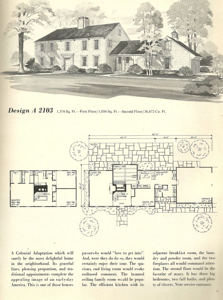 Vintage House Plans Salt Box 2103 Colonial House Plans Vintage House Plans England Houses