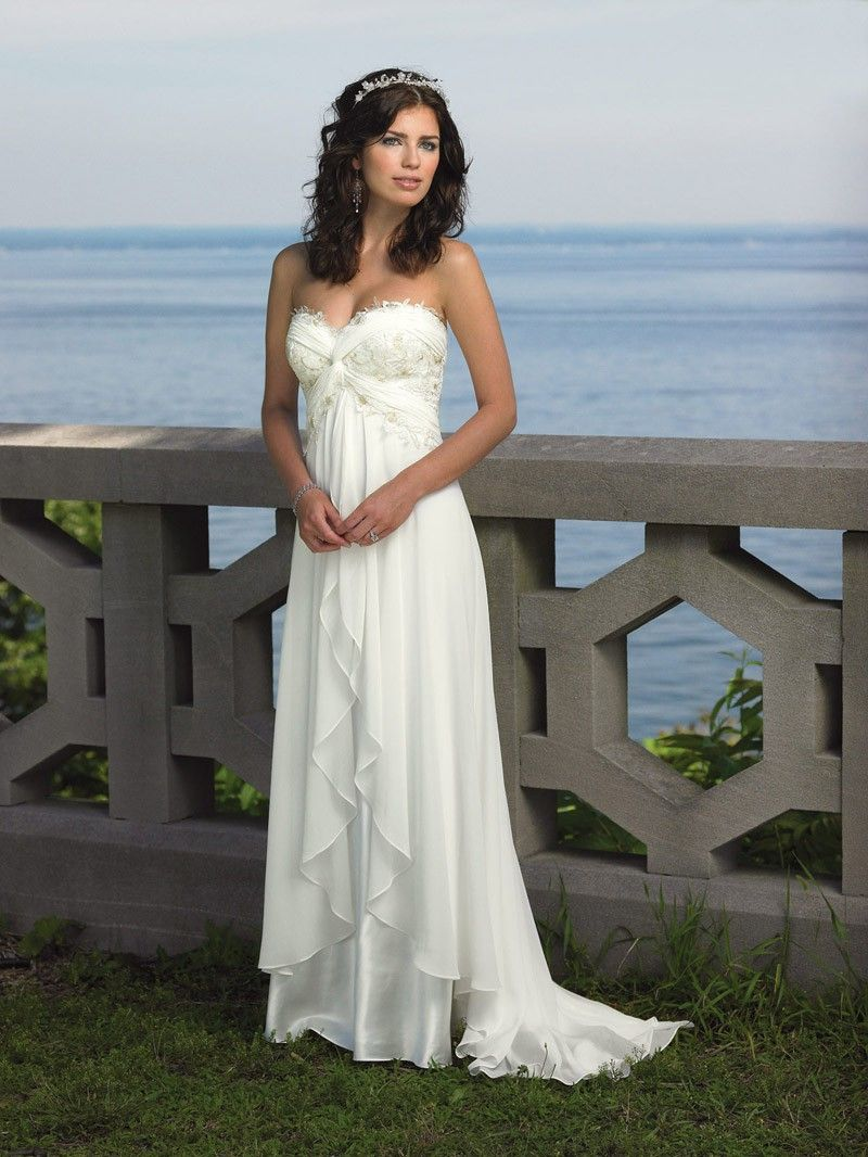 Chiffion strapless custom made sexy beach wedding dresszyp