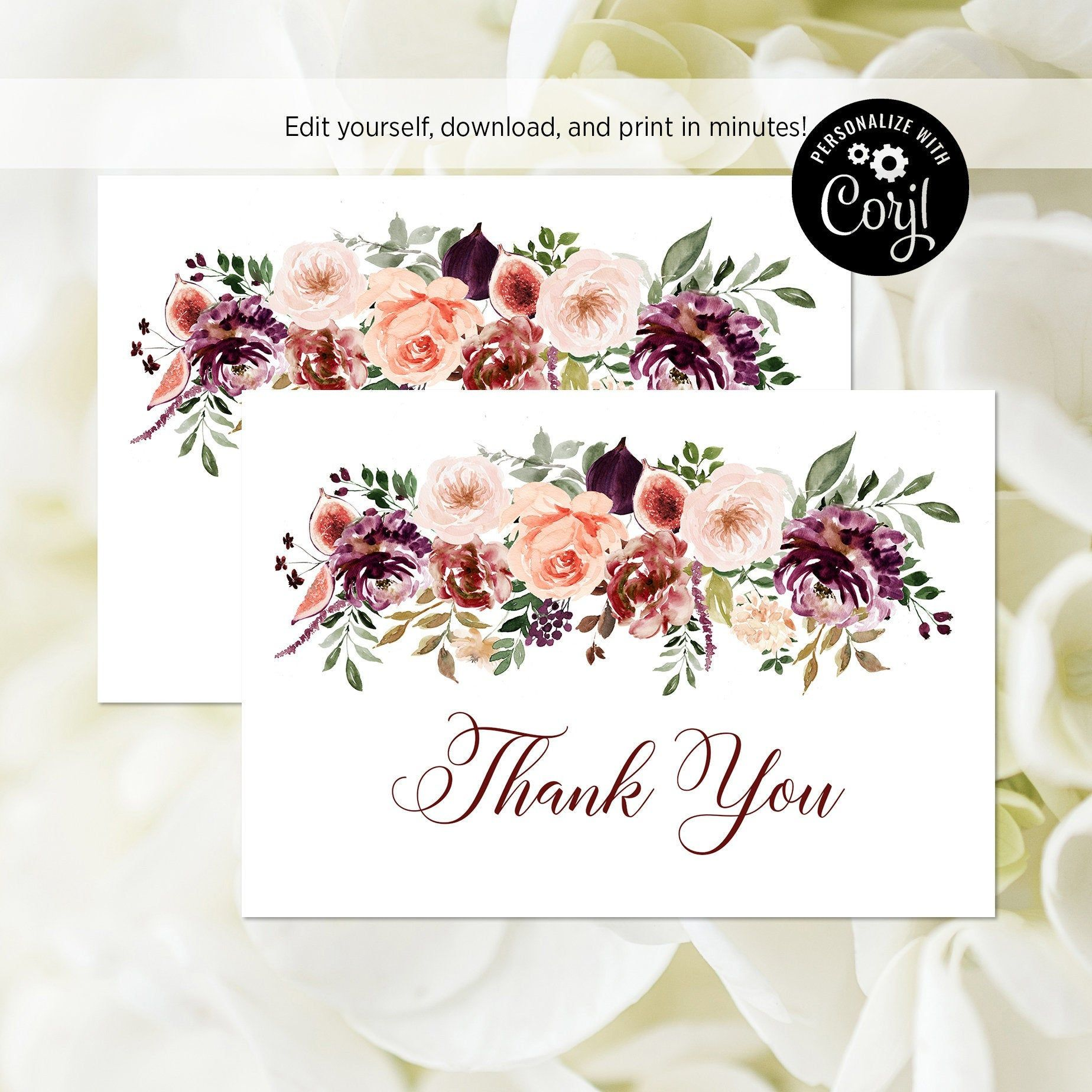 EDITABLE FILE Fall Thank You Card Purple and Blush Floral