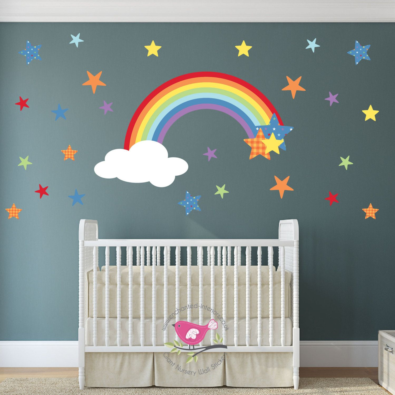 Vinyl Waterproof Decoration for Kid Girl Nursery Teen Baby Bedroom Living Room Rainbow Wall Decals Stickers Cute Removable Peel and Stick Wallpaper