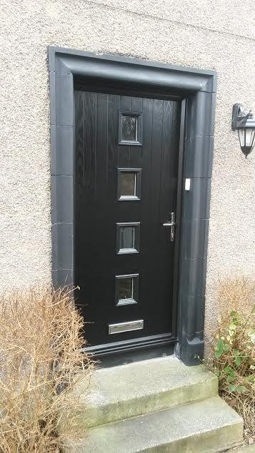 4 Square Glazed Composite Front Door in Black   Composite Entrance ...