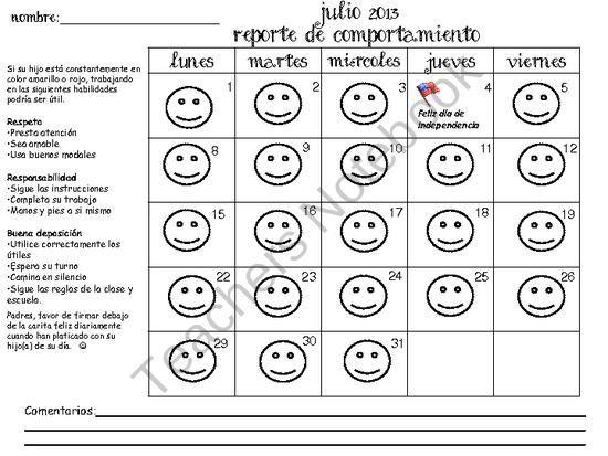 Behavior chart calendar spanish from kinder beezy bee on teachersnotebook pages also rh pinterest