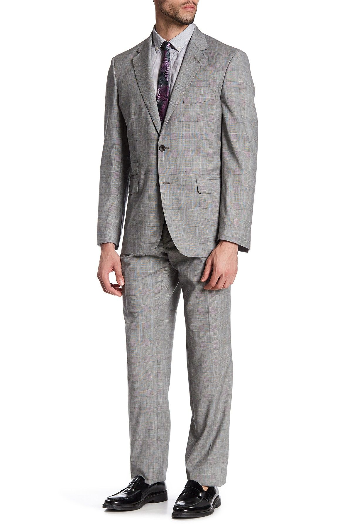 Claymore Plaid Two Button Notched Lapel Wool Trim Fit Suit