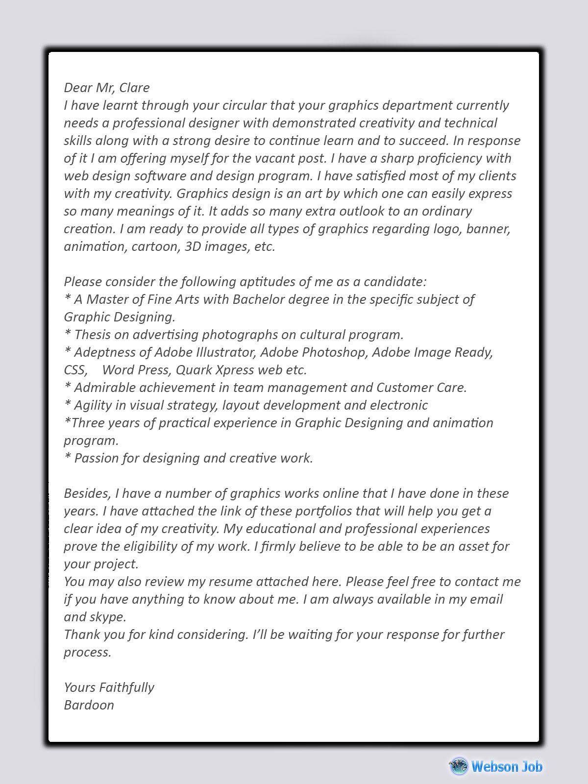 Upwork Cover Letter Sample For Graphic Designer In 2020 Cover Letter Sample Cover Letter Tips Letter Sample