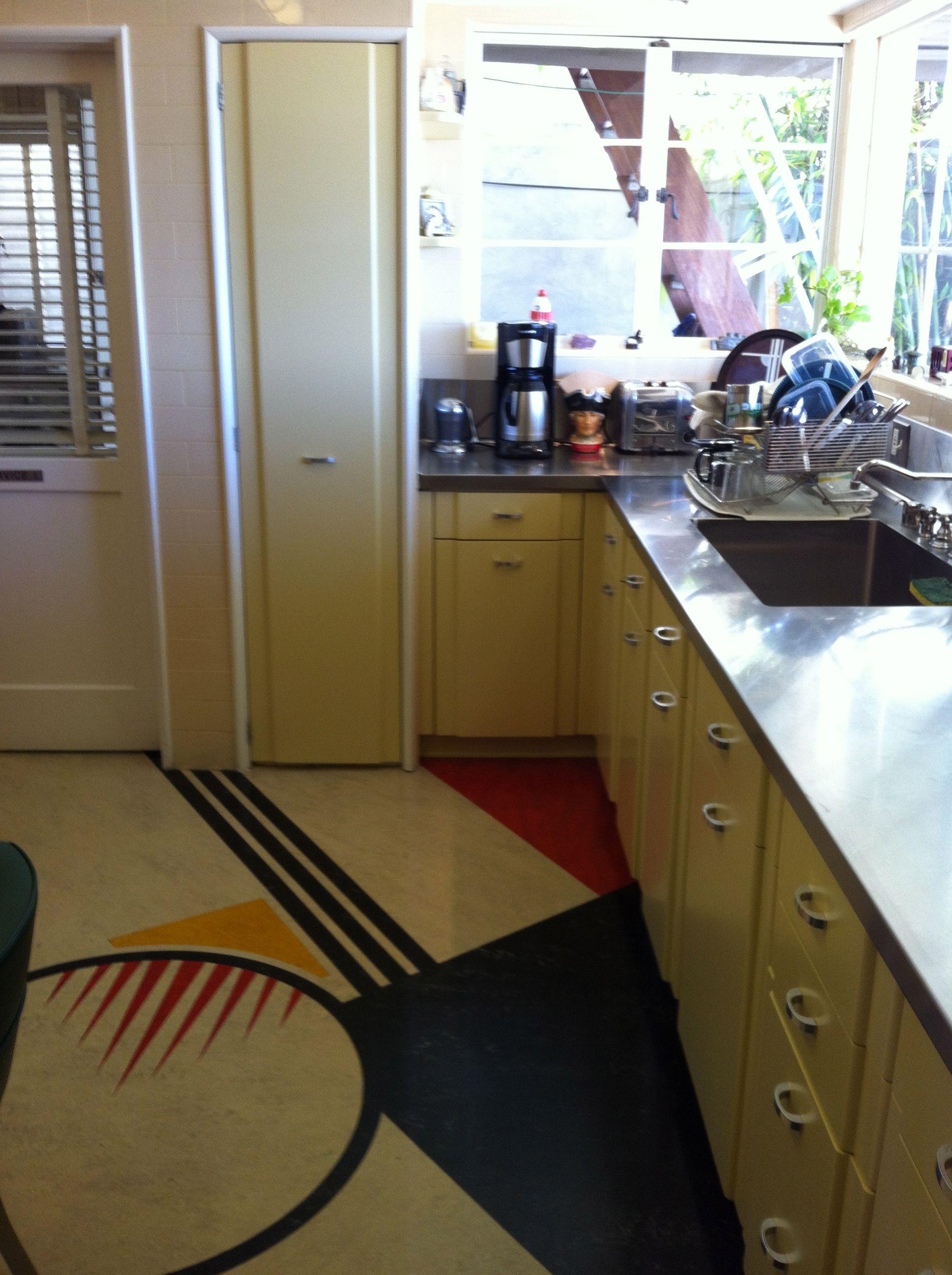 Streamline Modern Inlay Floor Inlay Flooring Streamline Moderne Rustic Kitchen Design
