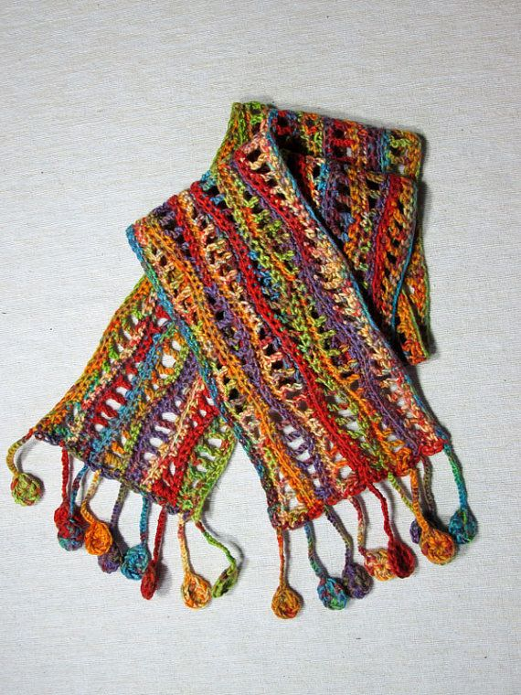 Bufanda de ganchillo multicolor con patrón de onda y por JoLArts ...