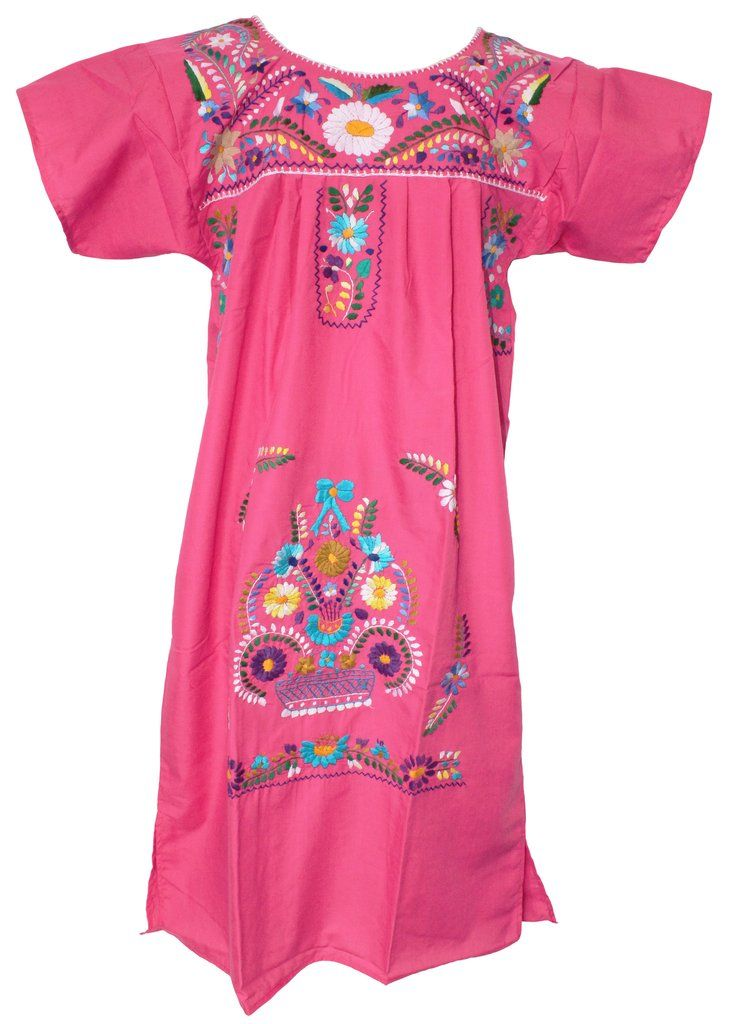 d4f56cd415553f Mexican Embroidered Pueblo Dress - Pink