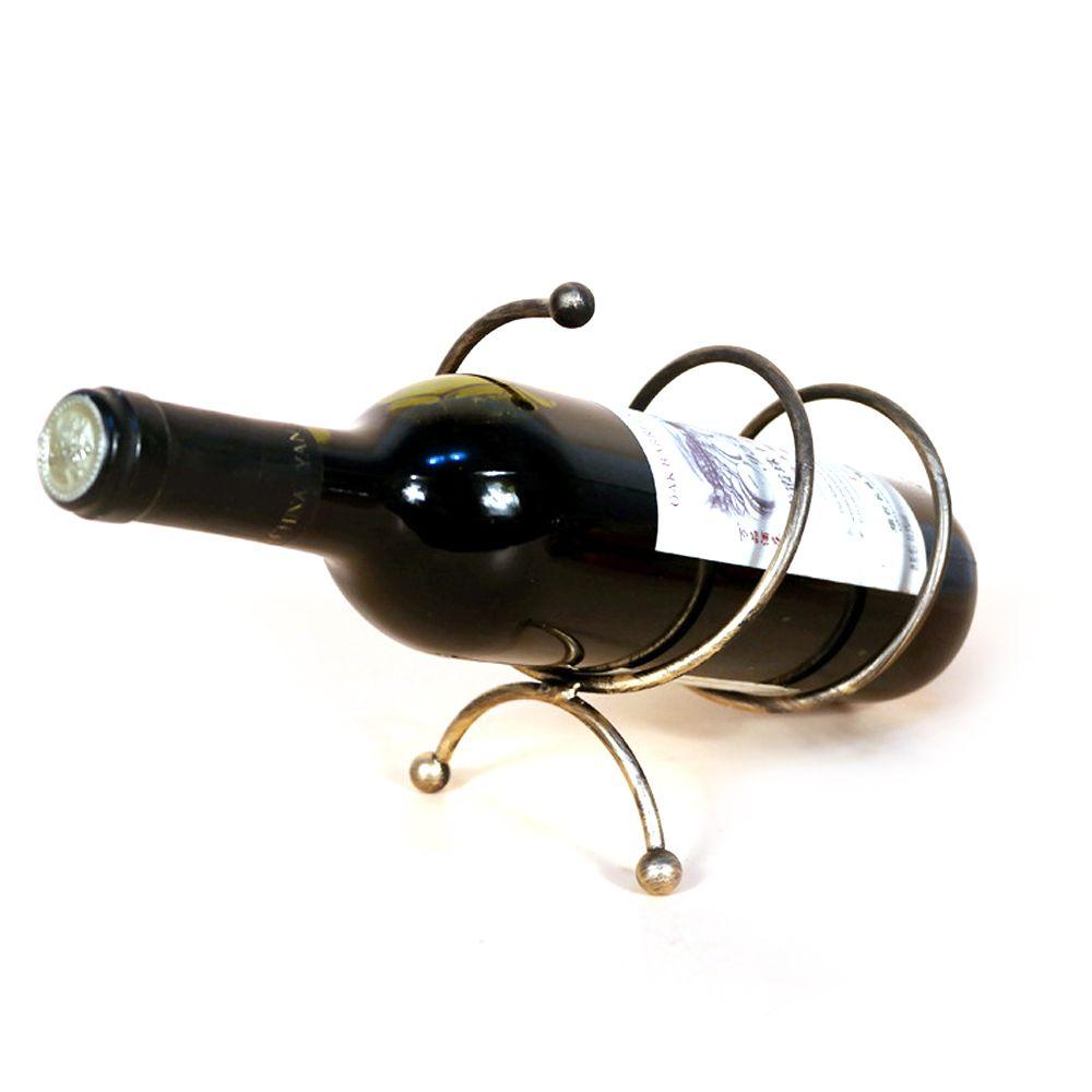Iron Spiral Tabletop Single Wine Bottle Holder Display Rack Shelf Bronze