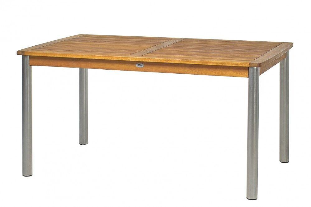 Tisch, rechteckig Eukalyptus FSC Edelstahl L B H 150x90x75 cm