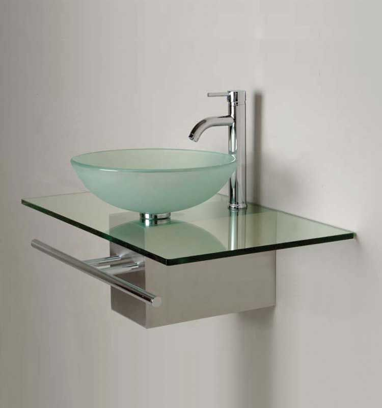 Bathroom Washbasin With Frosted Round Sink Clear Glass Counter