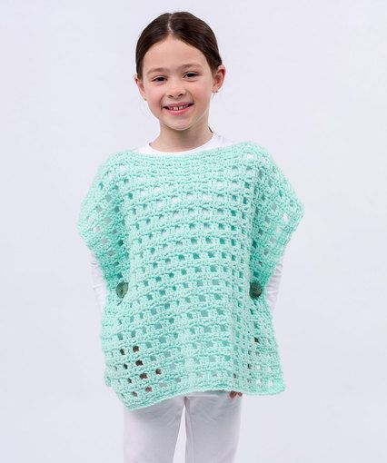 Simply Stated Child Poncho Free Easy Level Crochet Pattern
