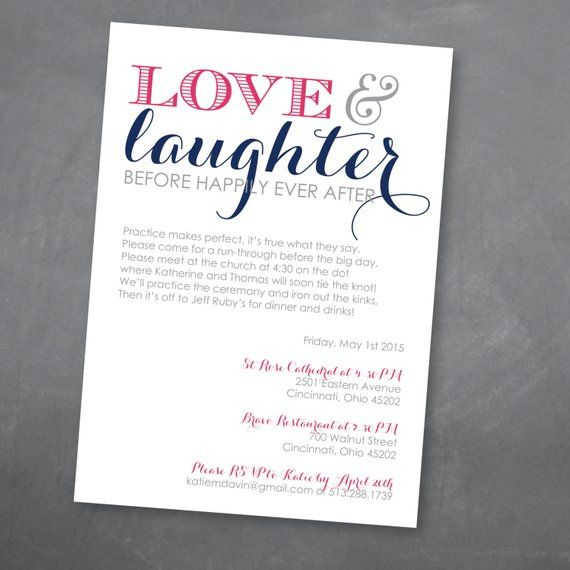 Love And Laughter Rehearsal Dinner Invitation Digital Design: Love And Laughter Rehearsal Dinner Invitation