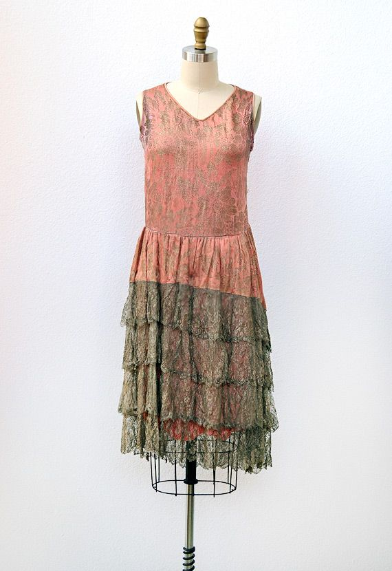 flapper dress ca 1920 s silk with metallic embroidery