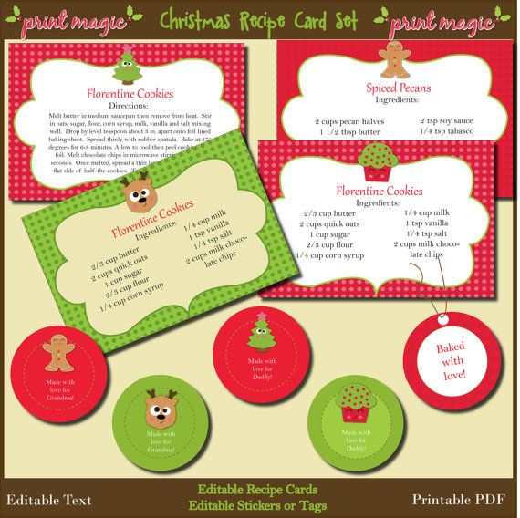 Instant Download Christmas Recipe Cards and Tags with changeable - food sign up sheet template