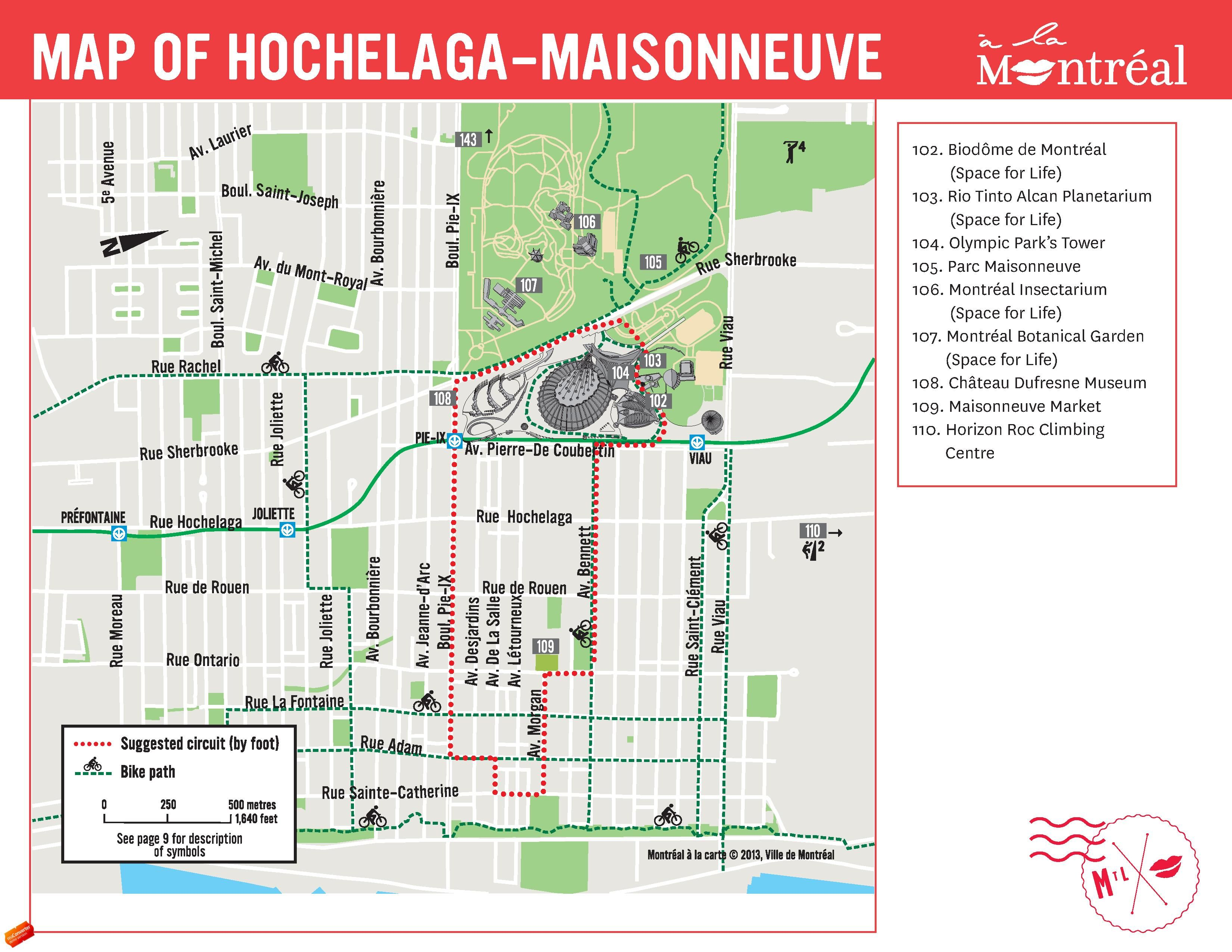 Hochelaga Maisonneuve Montreal Map Botanical Gardens