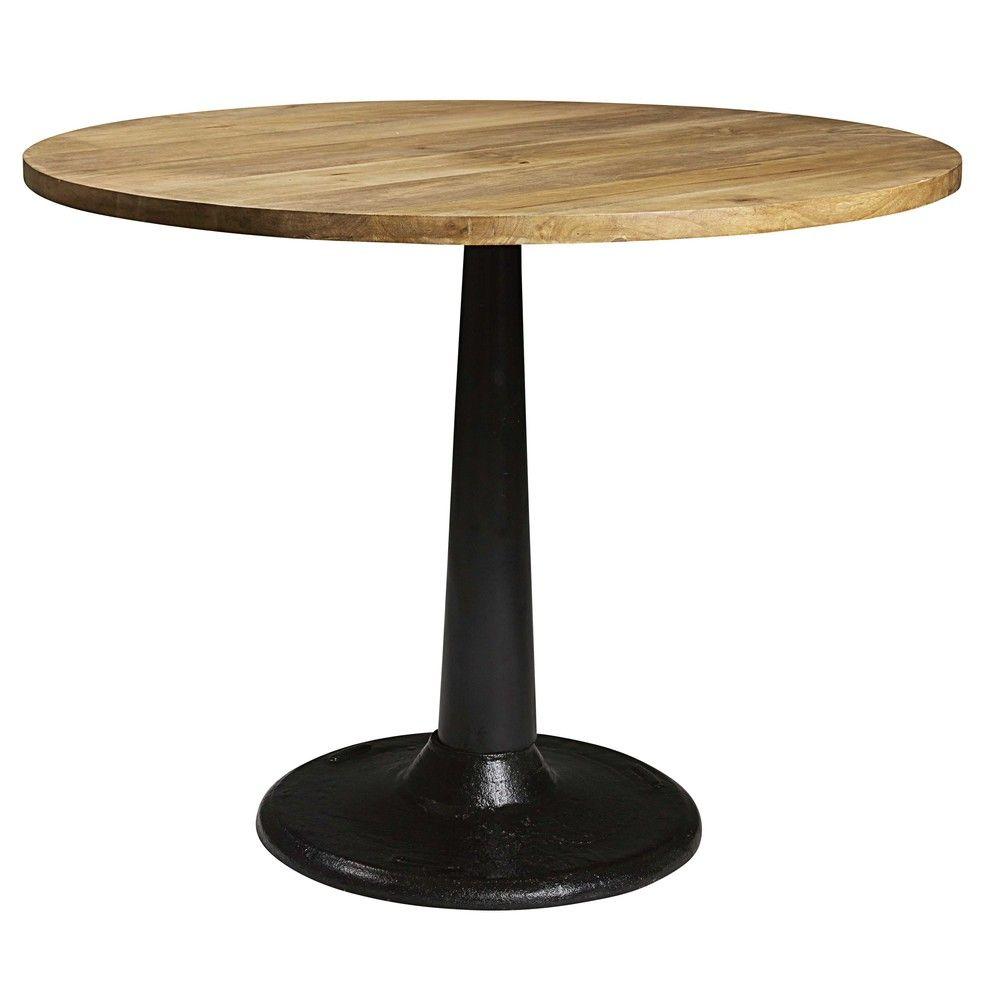 Table A Manger Ronde En Manguier Et Metal 4 6 Personnes D115