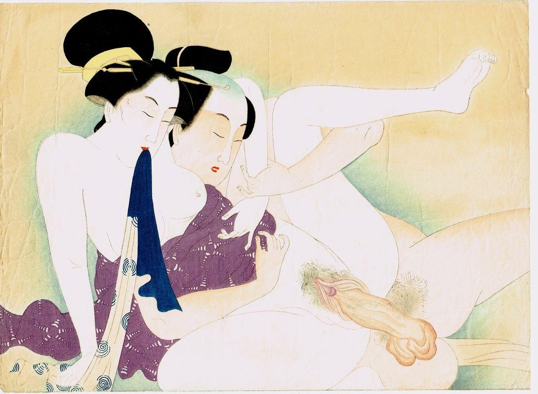34 cm Large Oban antique Japanese woodblock print Ukiyo-e Hokusai school 1860's #3-3