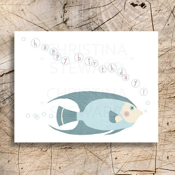 Fish Printable Birthday Card Instant Download Happy Birthday – Print at Home Birthday Cards