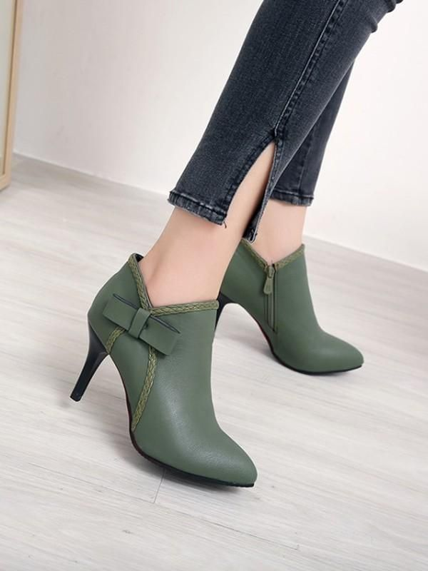 New Green Round Toe Stiletto Bow Fashion Ankle Boots 15