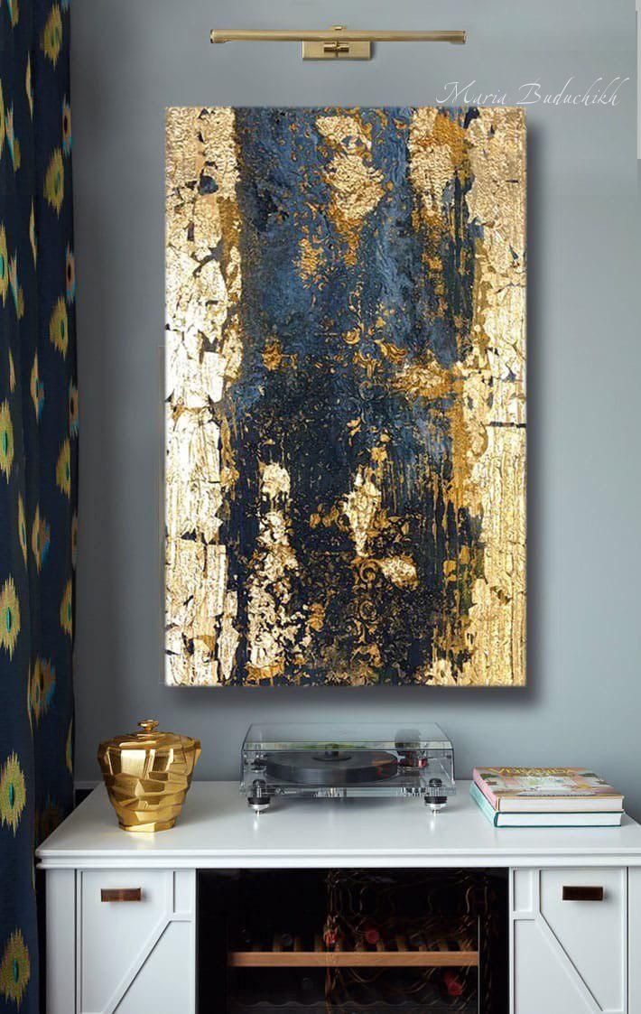 Large Abstract Painting Gold Leaf Art Wall Decor Modern Art Original Painting Golden Textu Gold Abstract Painting Large Abstract Painting Abstract Art Painting