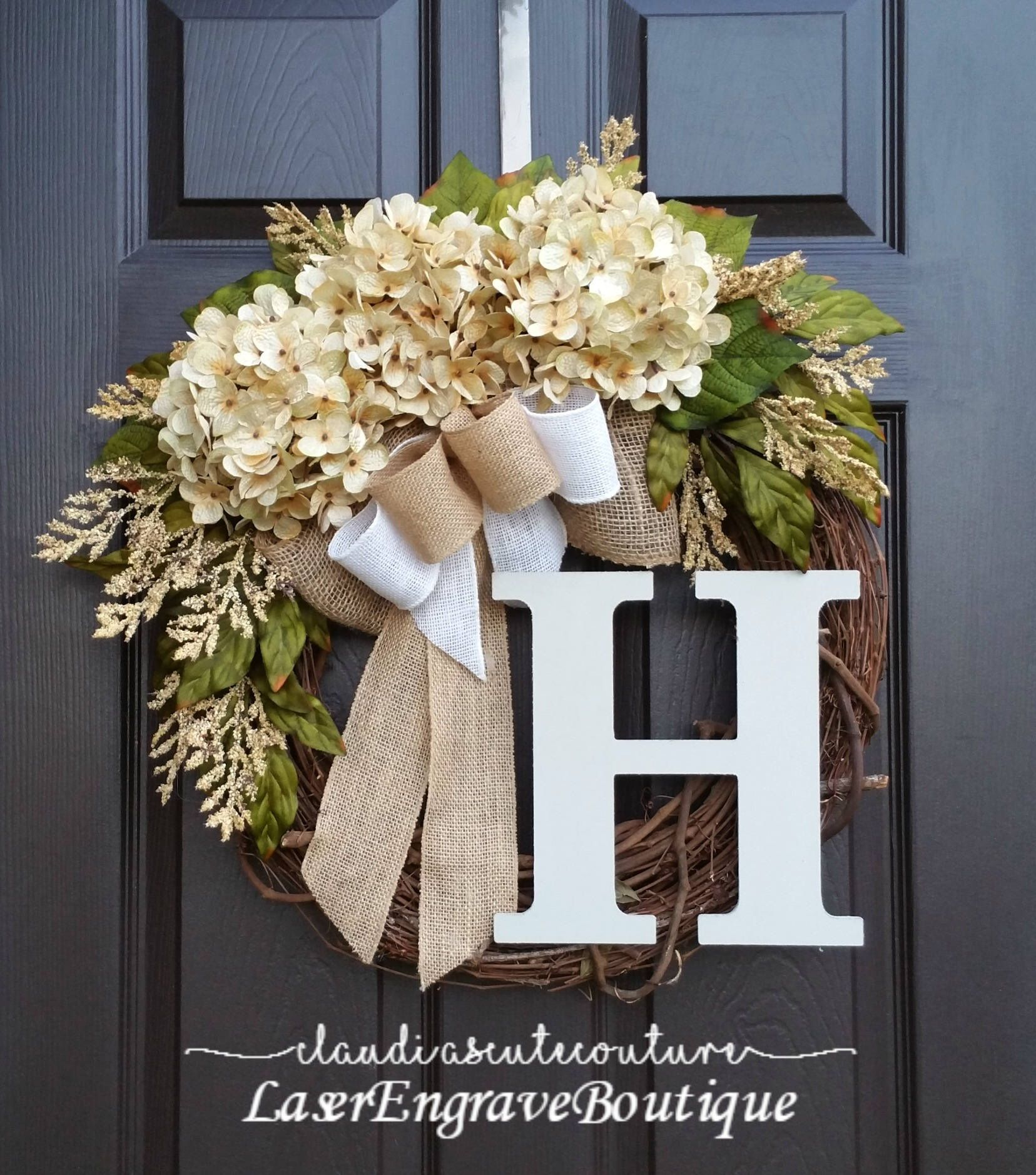 Superior Cream Hydrangea Wreath,Summer Wreath,Farmhouse Wreath,Year Round Wreath,Front  Door