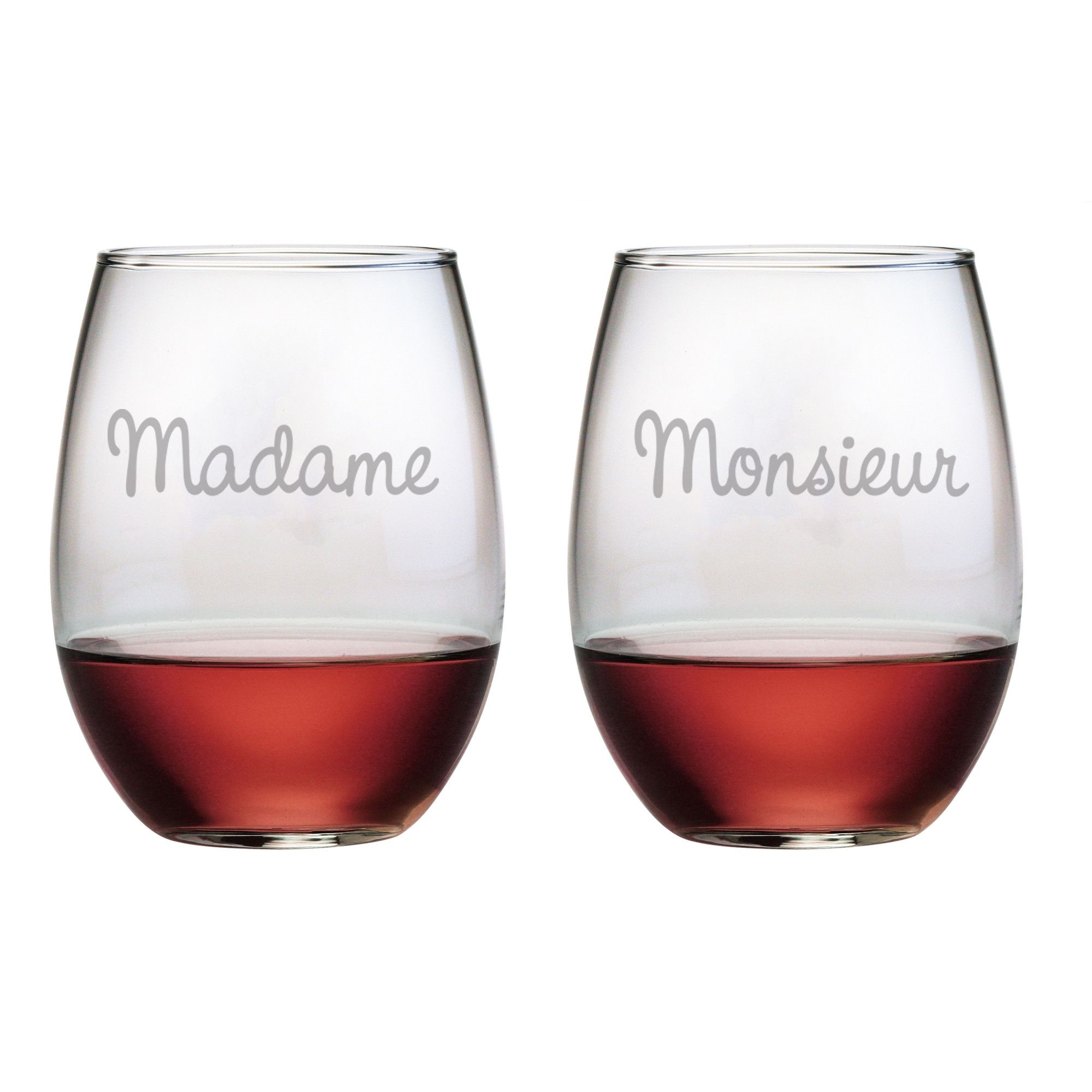 Madame Monsieur Stemless Wine Glasses Wine Glass Stemless Wine Glass Wine Glass Set