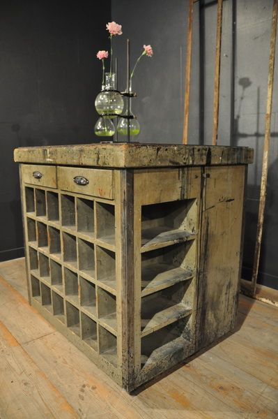 1900 wooden painted cabinet Espace Nord Ouest Vintage Industrial