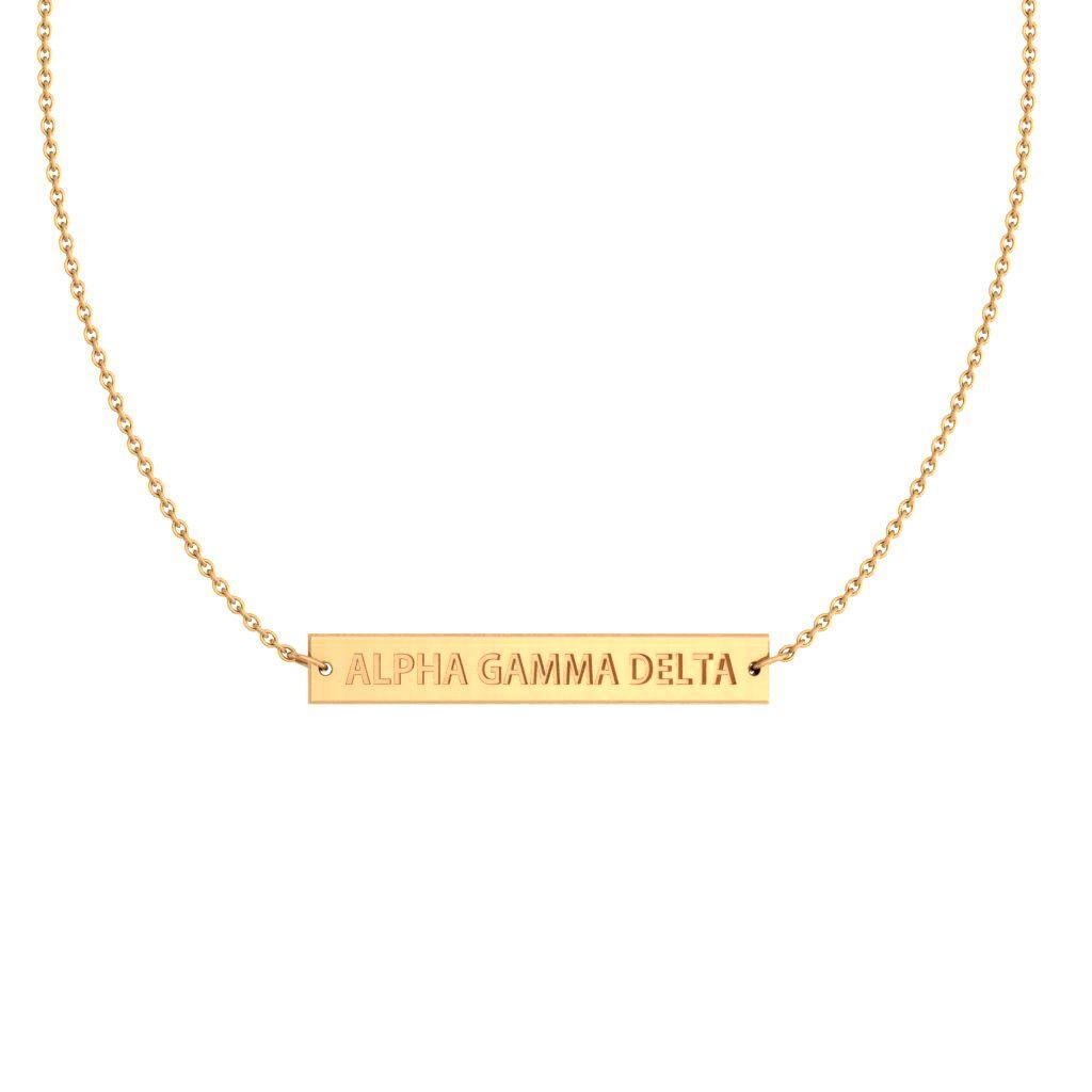 Alpha Gamma Delta Yellow Gold Infinity Bar Necklace #14k-yellow-gold-plate #alpha-gamma-delta #necklaces
