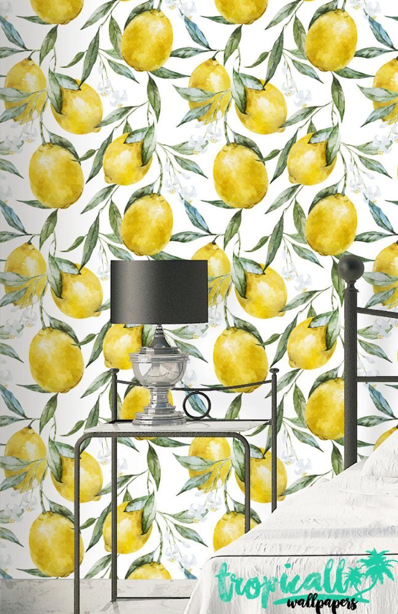Lemon Print Wallpaper Removable Wallpapers Floral Watercolor Wallpaper Self Adhesive Wall Decal Temporary Peel And Stick Wall Art Behang Meisjeskamer Behang Badkamer