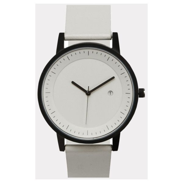 White & Black Earl Watch (€145) ❤ liked on Polyvore featuring jewelry, watches, black white jewelry, black and white jewelry, black and white watches, unisex watches and leather band watches