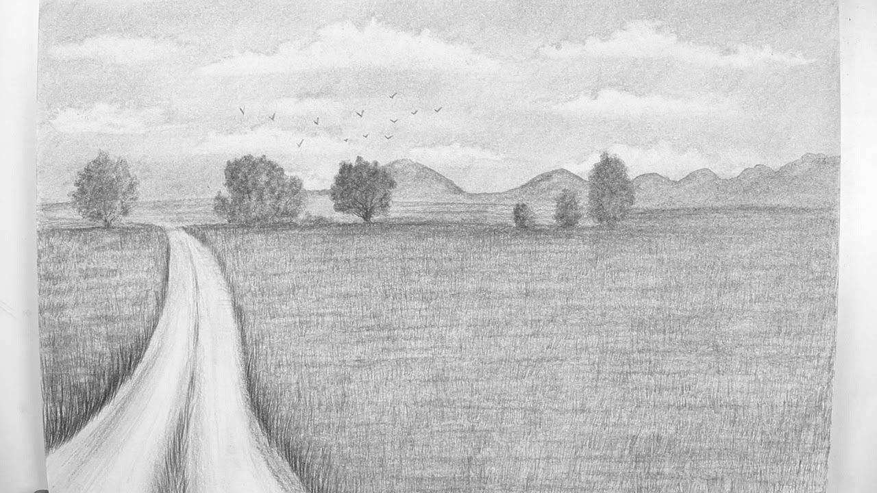 How To Draw A Very Simple Landscape Landscape Drawings Tapestry
