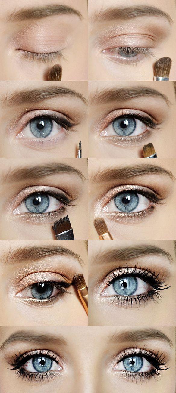 White Eyeshadow Blonde haare makeup, Graue augen