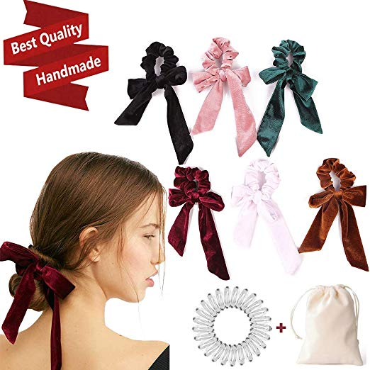 sold worldwide online for sale size 7 Amazon.com : 6Pcs Hair Scrunchies Bowknot Velvet Elastics ...
