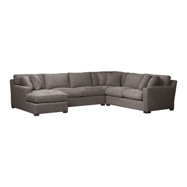 Giant Sectional In Grey Herringbone Contemporary Sectional Sofa