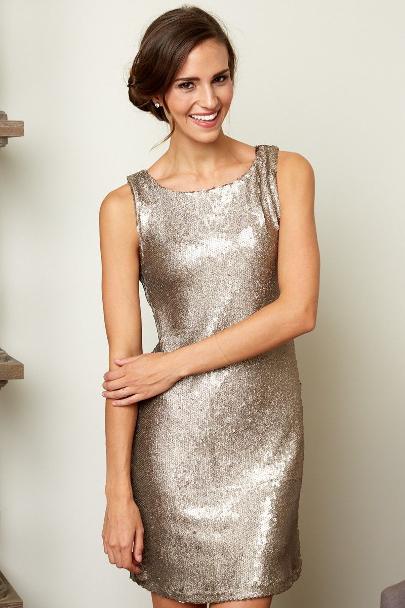 1927a1b718c BB Dakota Penley Sequin Shift Dress In Gold at reddressboutique.com ...