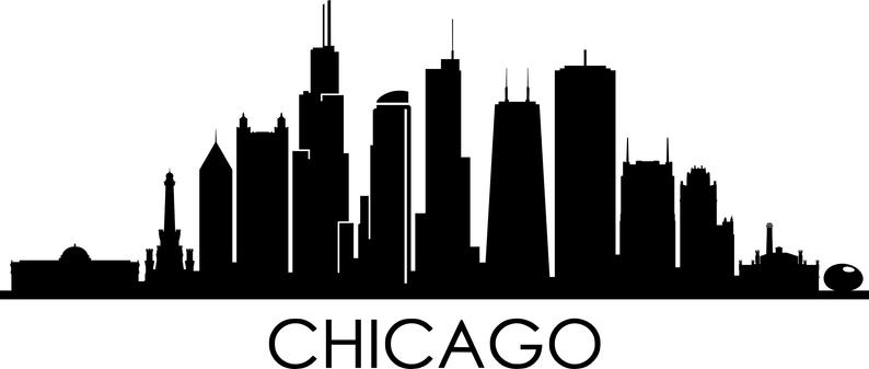 Chicago City Skyline Outline Silhouette Vector Svg Eps Jpg Png Etsy In 2021 Chicago Skyline Silhouette City Skyline Silhouette Chicago City