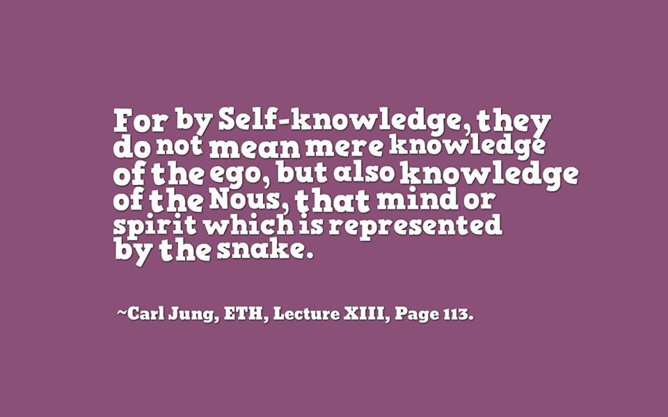 For by Self-knowledge, they [Gnostics] do not mean mere knowledge of the ego, but also knowledge of the Nous, that mind or spirit which is represented by the snake. ~Carl Jung, ETH, Lecture XIII, Page 113.