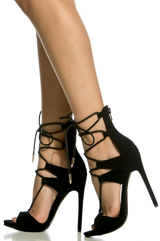 7dc7b448f Black Faux Nubuck Lace Up Single Sole Heels @ Cicihot Heel Shoes online  store sales: