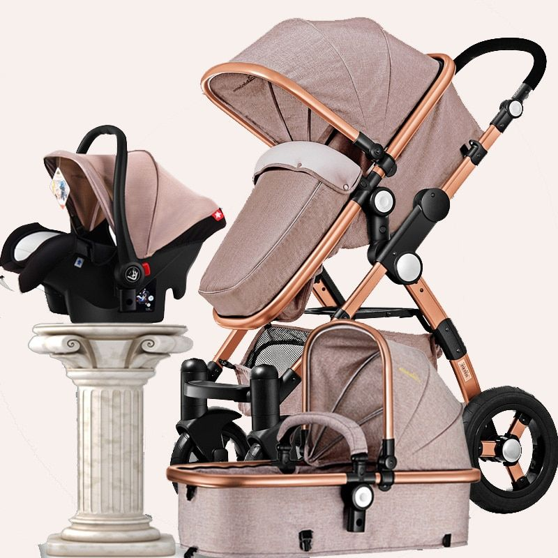 Luxury Baby Stroller 3 in 1 High view Pram foldable pushchair/&bassinet Car Seat
