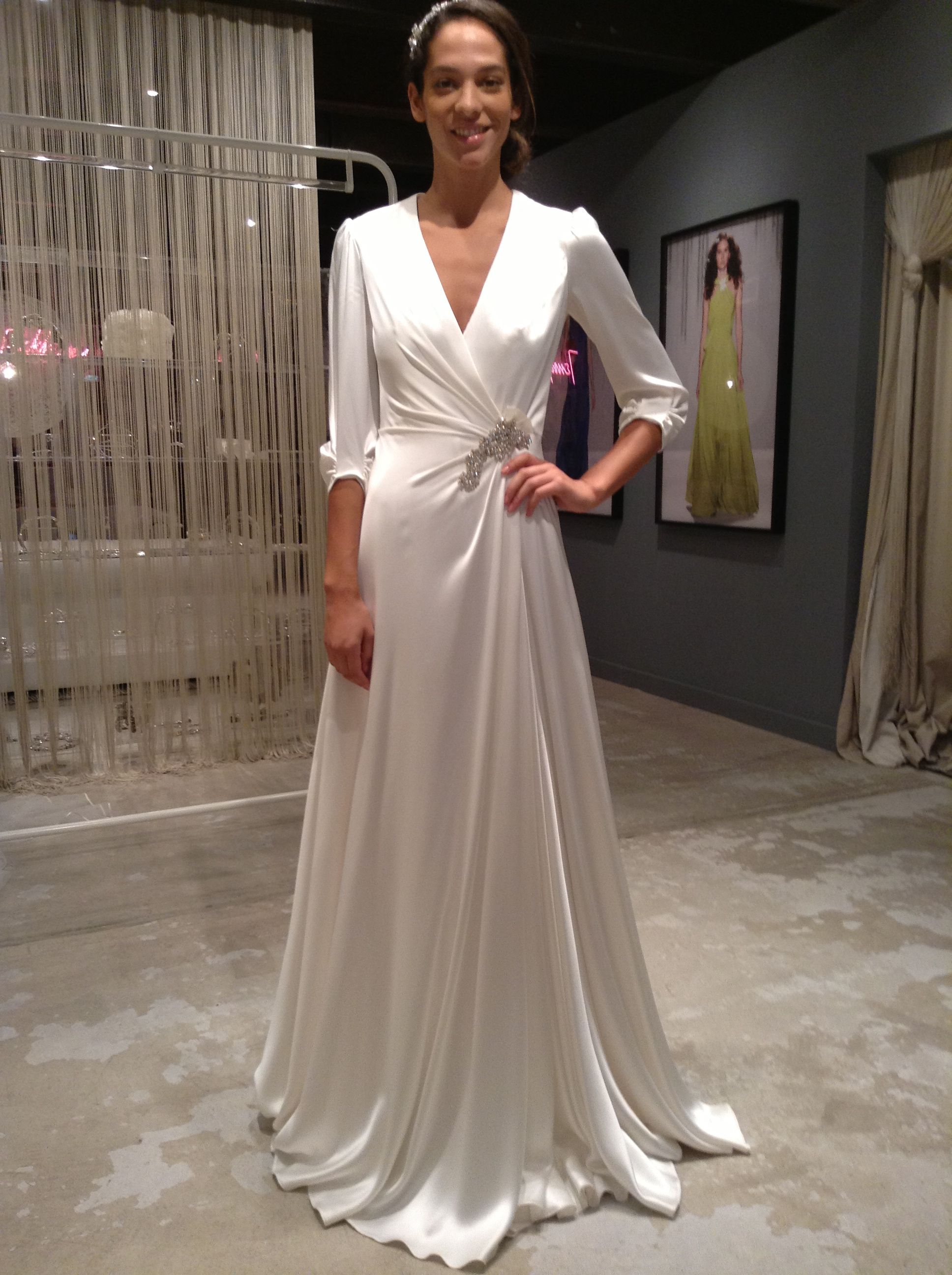 Jenny Packham Bridal Gown Wedding Wrap Dress Sleeves Charmeuse
