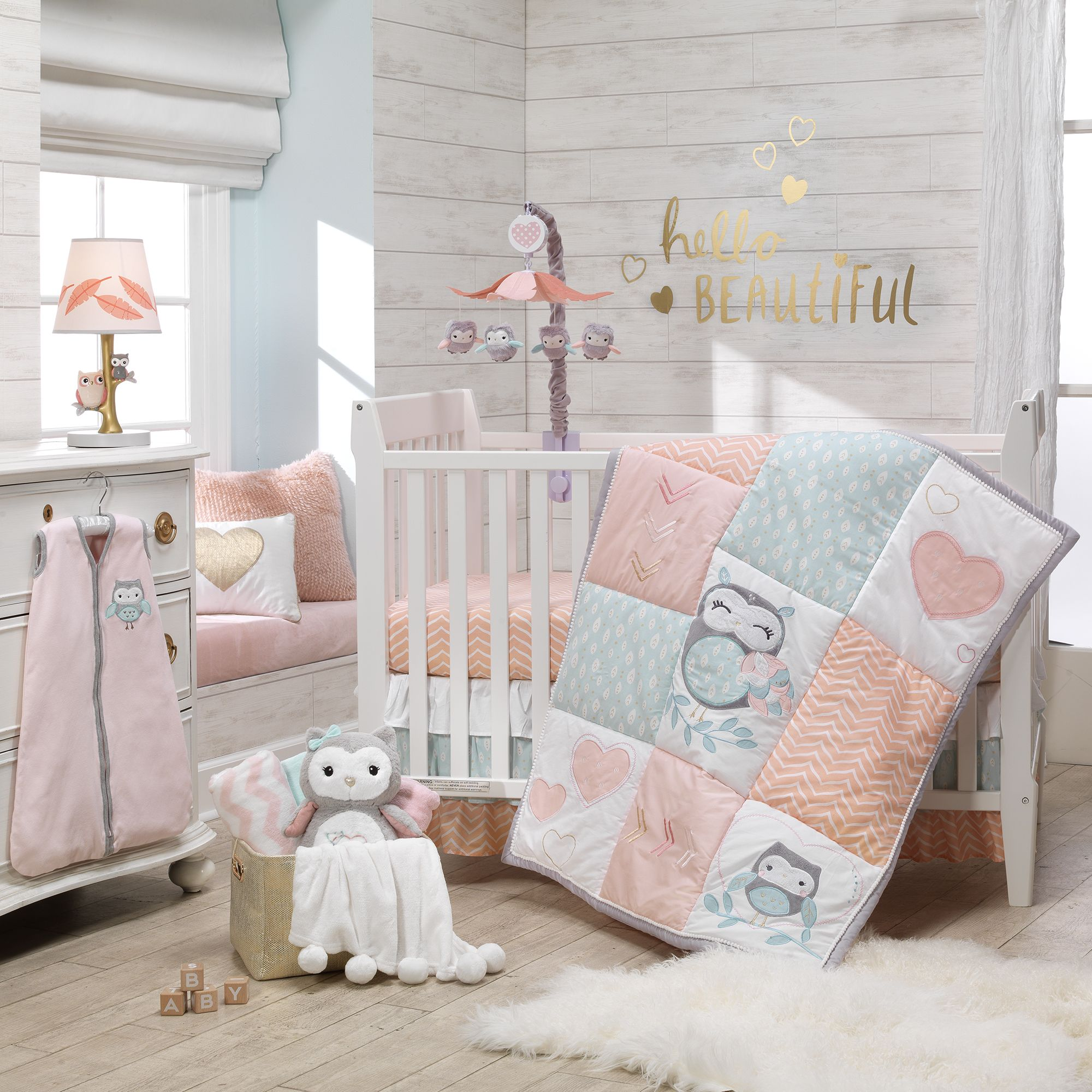 Sweet Owl Dreams Gray Pink Musical Baby Crib Mobile