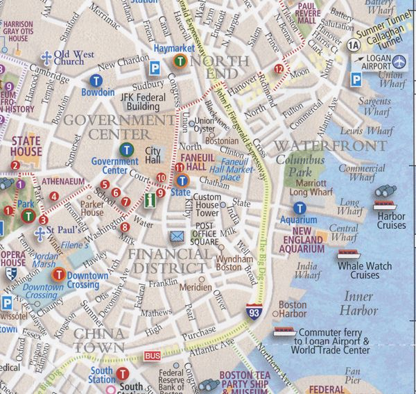 Map of downtown sightseeing in Boston maps