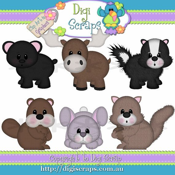 Woodland Animals Clip Art Set  Clipart by Digiscrapsau on Etsy, $2.00